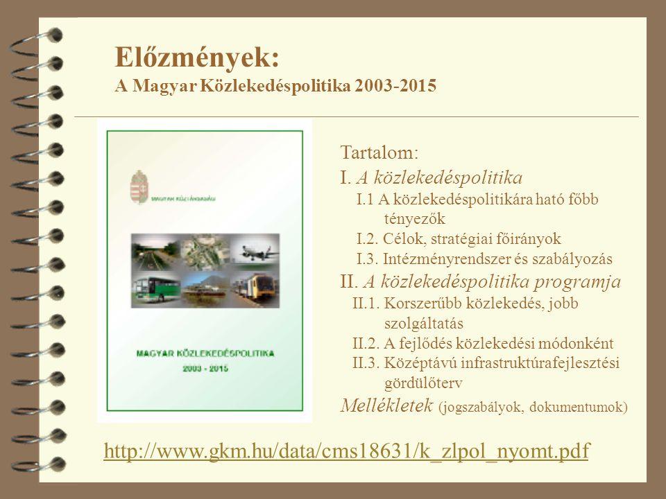 Előzmények: A Magyar Közlekedéspolitika 2003-2015 http://www.gkm.hu/data/cms18631/k_zlpol_nyomt.pdf Tartalom: I. A közlekedéspolitika I.1 A közlekedés