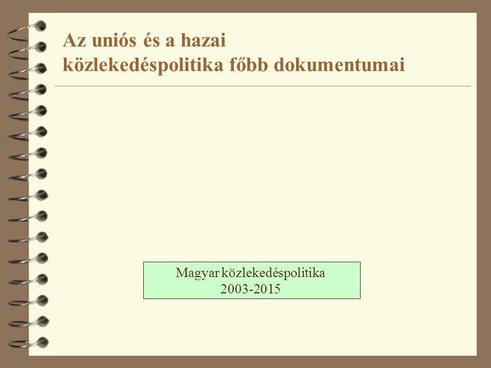 Magyar közlekedéspolitika 2003-2015 Az uniós és a hazai közlekedéspolitika főbb dokumentumai
