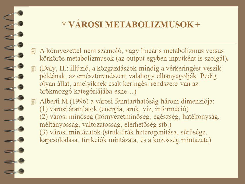 * VÁROSI METABOLIZMUSOK + 4 A környezettel nem számoló, vagy lineáris metabolizmus versus körkörös metabolizmusok (az output egyben inputként is szolgál).