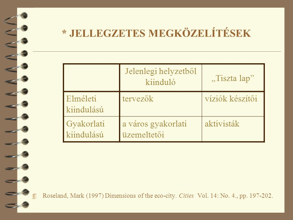 * JELLEGZETES MEGKÖZELÍTÉSEK 4 Roseland, Mark (1997) Dimensions of the eco-city.