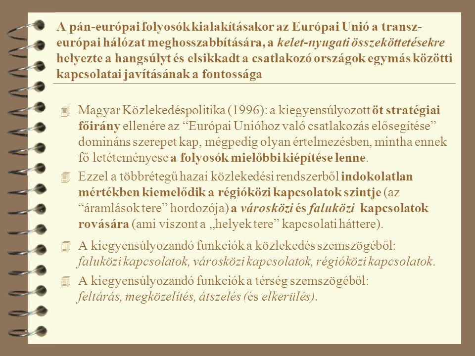 A pán-európai folyosók kialakításakor az Európai Unió a transz- európai hálózat meghosszabbítására, a kelet-nyugati összeköttetésekre helyezte a hangs