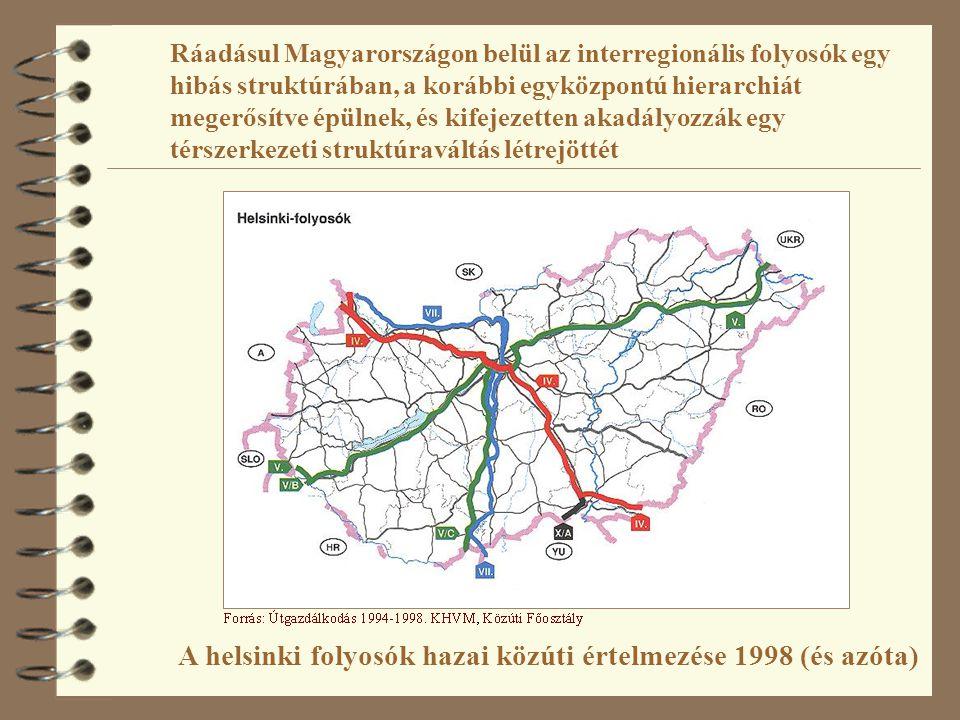 Ráadásul Magyarországon belül az interregionális folyosók egy hibás struktúrában, a korábbi egyközpontú hierarchiát megerősítve épülnek, és kifejezett