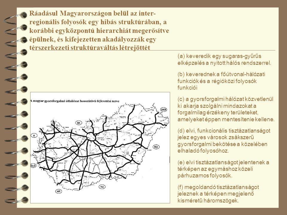 ( a) keveredik egy sugaras-gyűrűs elképzelés a nyitott hálós rendszerrel. (b) keverednek a főútvonal-hálózati funkciók és a régióközi folyosók funkció
