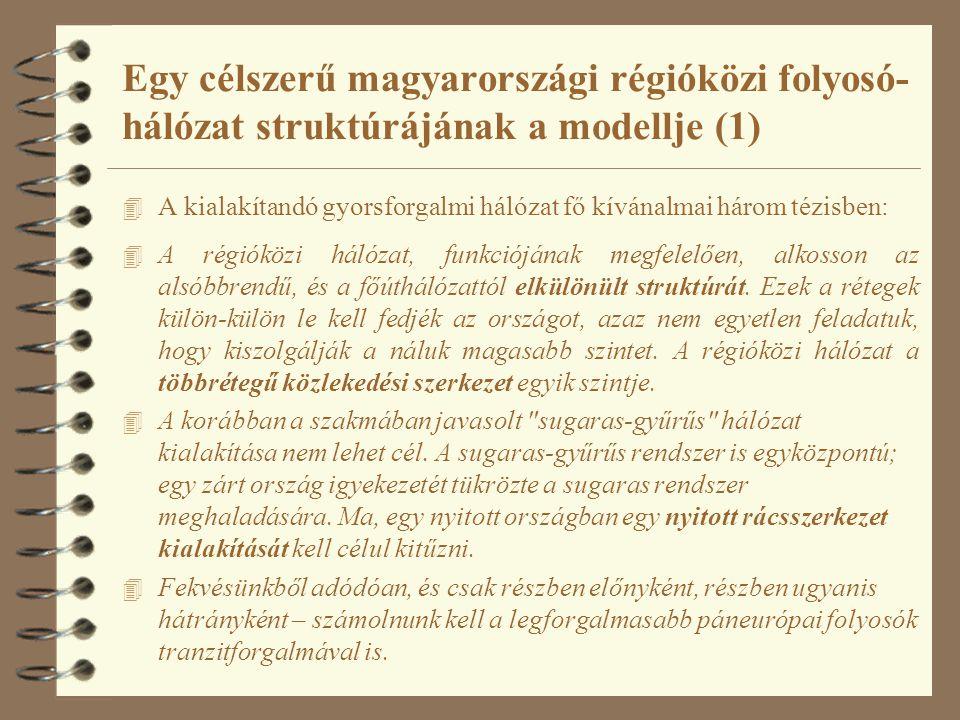 Egy célszerű magyarországi régióközi folyosó- hálózat struktúrájának a modellje (1) 4 A kialakítandó gyorsforgalmi hálózat fő kívánalmai három tézisbe