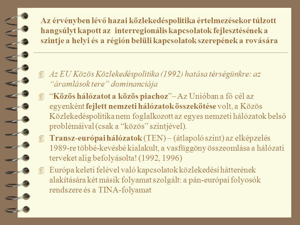 A pán-európai folyosók kialakításakor az Európai Unió a transz- európai hálózat meghosszabbítására, a kelet-nyugati összeköttetésekre helyezte a hangsúlyt és elsikkadt a csatlakozó országok egymás közötti kapcsolatai javításának a fontossága 4 Az EU Közös Közlekedéspolitika (1992) hatása térségünkre: az áramlások tere dominanciája 4 Pán-európai folyosók: a TEN meghosszabbítása, 1991, 1994, 1997 konferenciákon tíz folyosó rögzítése 4 Dominál a kelet-nyugat kapcsolat: tízből egyetlen folyosó (a IX-es) átfogó észak-déli kapcsolat (=finn-görög összeköttetés); a többi esetleges és hiányos.