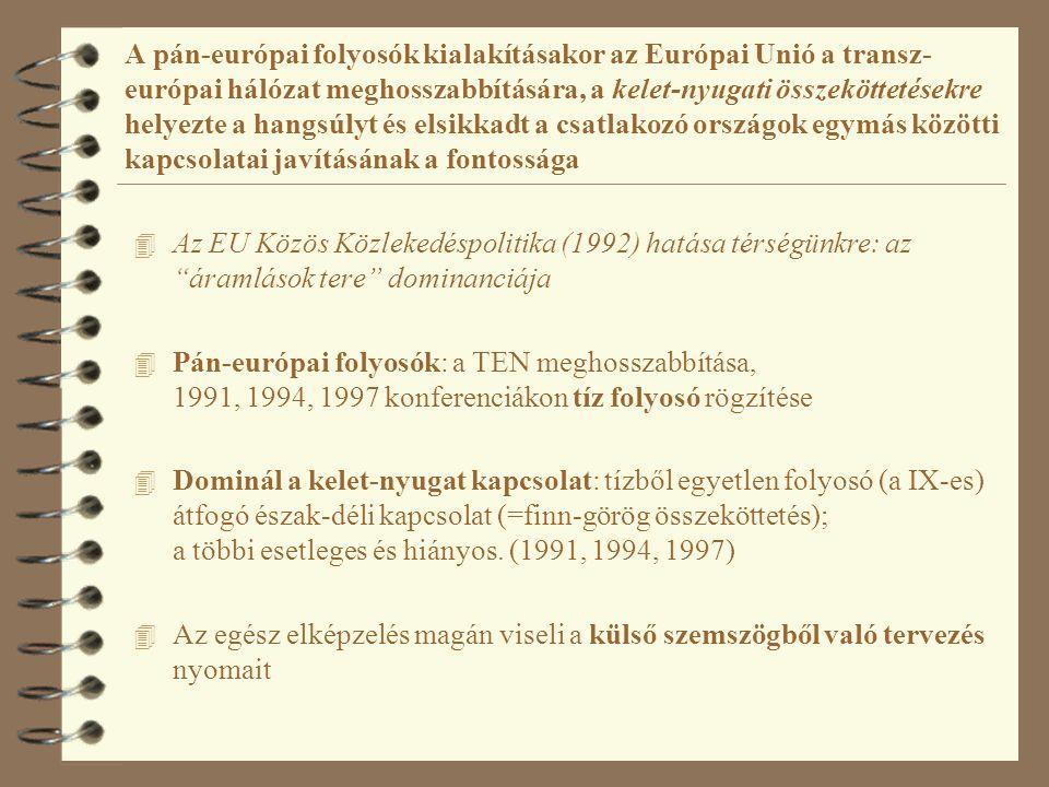 A pán-európai folyosók kialakításakor az Európai Unió a transz-európai hálózat meghosszabbítására, a kelet-nyugati összeköttetésekre helyezte a hangsúlyt és elsikkadt a csatlakozó országok egymás közötti kapcsolatai javításának a fontossága Forrás: http://www.khvm.hu/EU-integracio/A_magyarorszagi_TINA_halozat/Image11.gif A helsinki, vagy pán-európai közlekedési folyosók