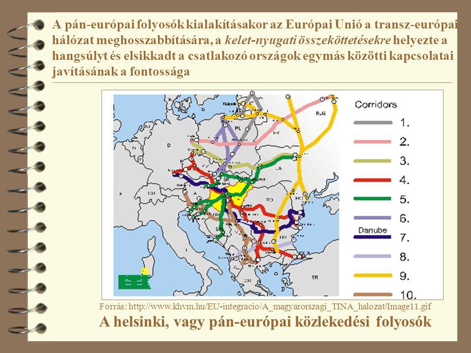 """A pán-európai folyosók kialakításakor az Európai Unió a transz- európai hálózat meghosszabbítására, a kelet-nyugati összeköttetésekre helyezte a hangsúlyt és elsikkadt a csatlakozó országok egymás közötti kapcsolatai javításának a fontossága 4 Az EU Közös Közlekedéspolitika (1992) hatása térségünkre: az áramlások tere dominanciája 4 TINA (Közlekedési Infrastruktúra Igények Felmérése) 15 + 12 ország szakmai tapasztalat-átadási folyamata (1995-99) Záródokumentum 1999: mintha egy politikai testületi döntés lenne 4 A gerinchálózat azonos a páneurópai folyosókkal, """"Láthatóan minden érdekelt egyetértett a folyosók iránti igénnyel, tehát nem volt szükség további gazdasági és pénzügyi indokolásra. 4 Az érintett országok kiegészítő elemeket javasolhattak, amelyek másodlagos prioritást élveznek"""