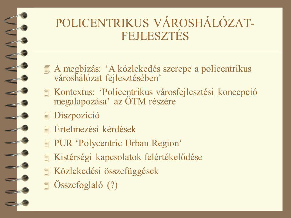 4 A megbízás: 'A közlekedés szerepe a policentrikus városhálózat fejlesztésében' 4 Kontextus: 'Policentrikus városfejlesztési koncepció megalapozása' az ÖTM részére 4 Diszpozíció 4 Értelmezési kérdések 4 PUR 'Polycentric Urban Region' 4 Kistérségi kapcsolatok felértékelődése 4 Közlekedési összefüggések 4 Összefoglaló ( )