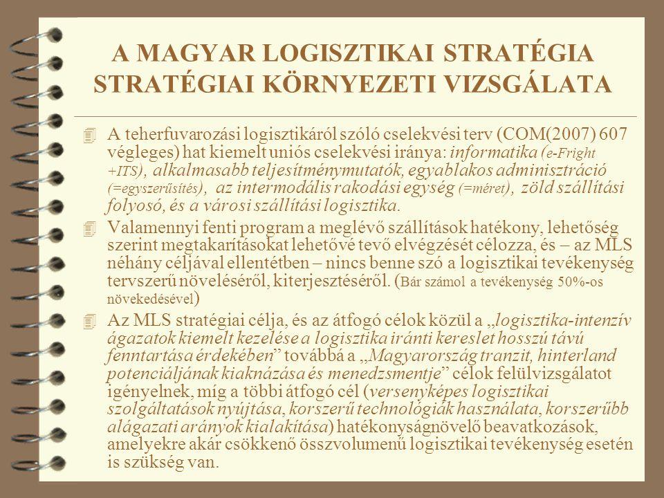 A MAGYAR LOGISZTIKAI STRATÉGIA STRATÉGIAI KÖRNYEZETI VIZSGÁLATA 4 A teherfuvarozási logisztikáról szóló cselekvési terv (COM(2007) 607 végleges) hat kiemelt uniós cselekvési iránya: informatika ( e-Fright +ITS ), alkalmasabb teljesítménymutatók, egyablakos adminisztráció (=egyszerűsítés ), az intermodális rakodási egység (=méret ), zöld szállítási folyosó, és a városi szállítási logisztika.