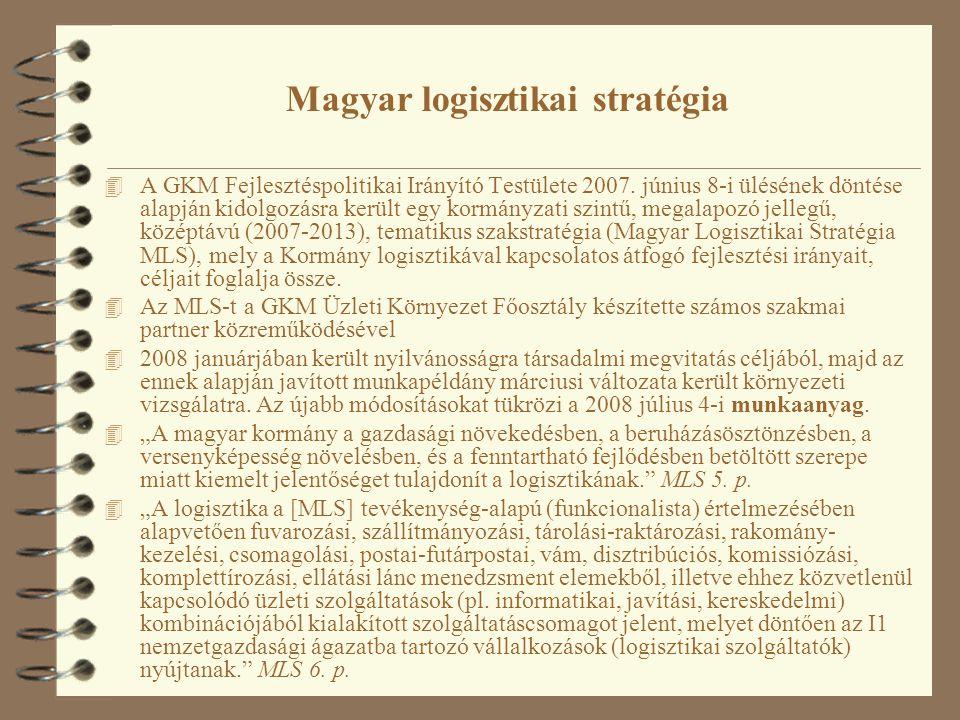 Magyar logisztikai stratégia 4 A GKM Fejlesztéspolitikai Irányító Testülete 2007.