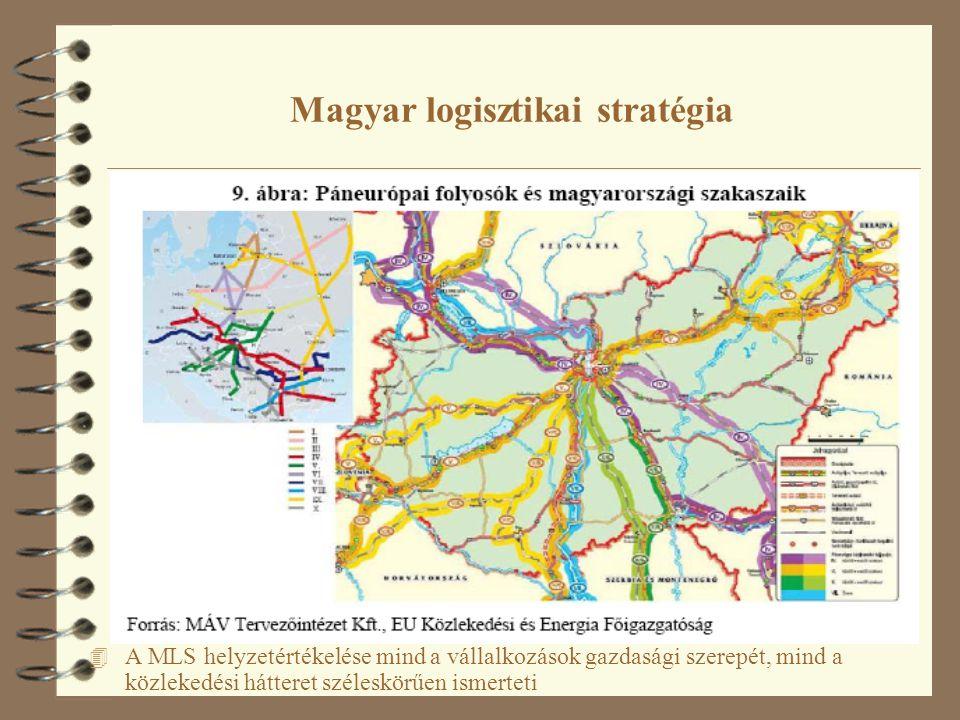 Magyar logisztikai stratégia 4 A MLS helyzetértékelése mind a vállalkozások gazdasági szerepét, mind a közlekedési hátteret széleskörűen ismerteti