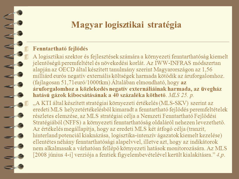 Magyar logisztikai stratégia 4 Fenntartható fejlődés 4 A logisztikai szektor és fejlesztések számára a környezeti fenntarthatóság kiemelt jelentőségű peremfeltétel és növekedési korlát.