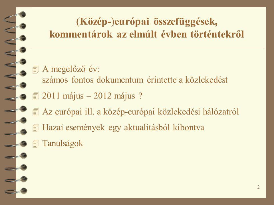 2 (Közép-)európai összefüggések, kommentárok az elmúlt évben történtekről 4 A megelőző év: számos fontos dokumentum érintette a közlekedést 4 2011 máj