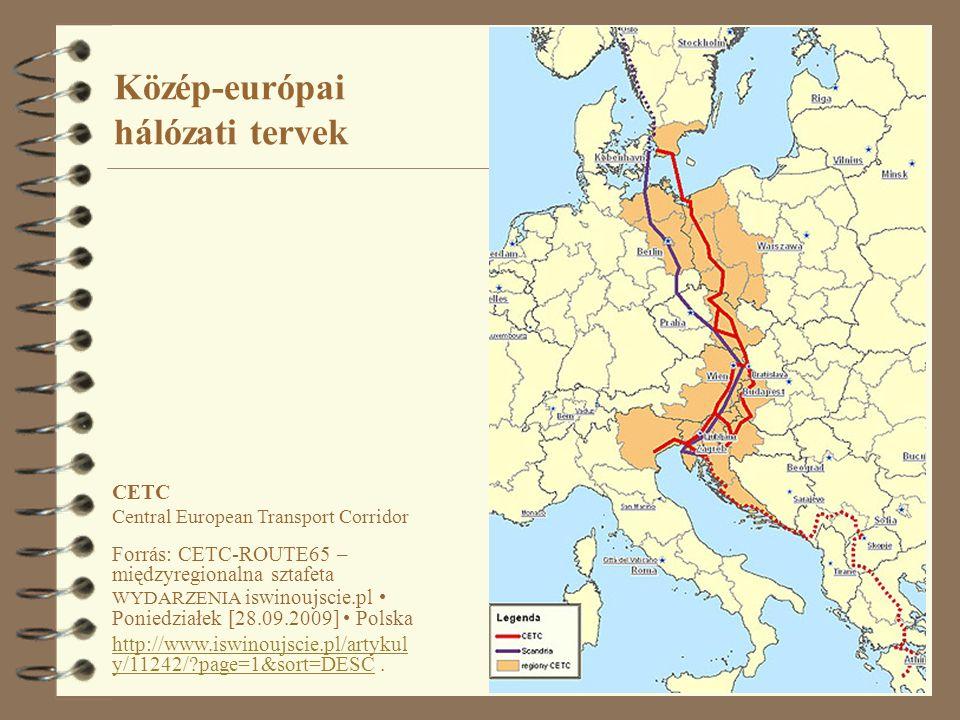 20 Közép-európai hálózati tervek CETC Central European Transport Corridor Forrás: CETC-ROUTE65 – międzyregionalna sztafeta WYDARZENIA iswinoujscie.pl