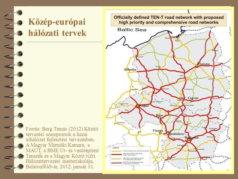 24 Közép-európai hálózati tervek Forrás: Berg Tamás (2012) Közúti tervezési szempontok a hazai úthálózat fejlesztési tervezésben. A Magyar Mérnöki Kam