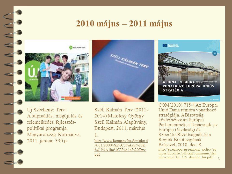 3 2010 május – 2011 május Új Széchenyi Terv: A talpraállás, megújulás és felemelkedés fejlesztés- politikai programja. Magyarország Kormánya, 2011. ja
