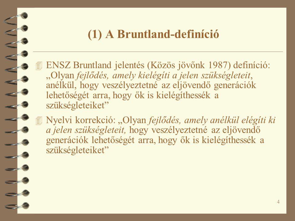 """4 (1) A Bruntland-definíció 4 ENSZ Bruntland jelentés (Közös jövőnk 1987) definíció: """"Olyan fejlődés, amely kielégíti a jelen szükségleteit, anélkül, hogy veszélyeztetné az eljövendő generációk lehetőségét arra, hogy ők is kielégíthessék a szükségleteiket 4 Nyelvi korrekció: """"Olyan fejlődés, amely anélkül elégíti ki a jelen szükségleteit, hogy veszélyeztetné az eljövendő generációk lehetőségét arra, hogy ők is kielégíthessék a szükségleteiket"""