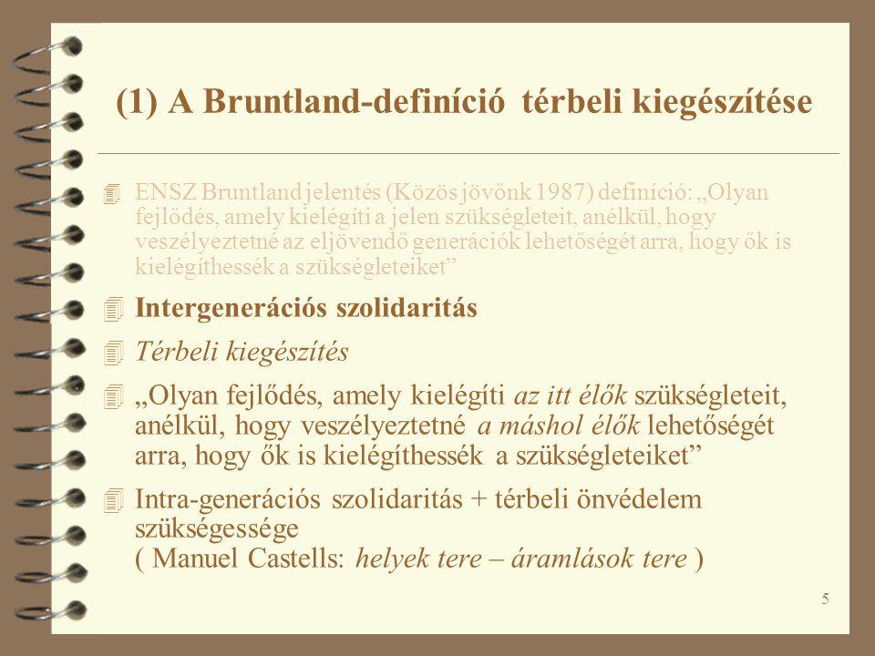 """5 (1) A Bruntland-definíció térbeli kiegészítése 4 ENSZ Bruntland jelentés (Közös jövőnk 1987) definíció: """"Olyan fejlődés, amely kielégíti a jelen szükségleteit, anélkül, hogy veszélyeztetné az eljövendő generációk lehetőségét arra, hogy ők is kielégíthessék a szükségleteiket 4 Intergenerációs szolidaritás 4 Térbeli kiegészítés 4 """"Olyan fejlődés, amely kielégíti az itt élők szükségleteit, anélkül, hogy veszélyeztetné a máshol élők lehetőségét arra, hogy ők is kielégíthessék a szükségleteiket 4 Intra-generációs szolidaritás + térbeli önvédelem szükségessége ( Manuel Castells: helyek tere – áramlások tere )"""