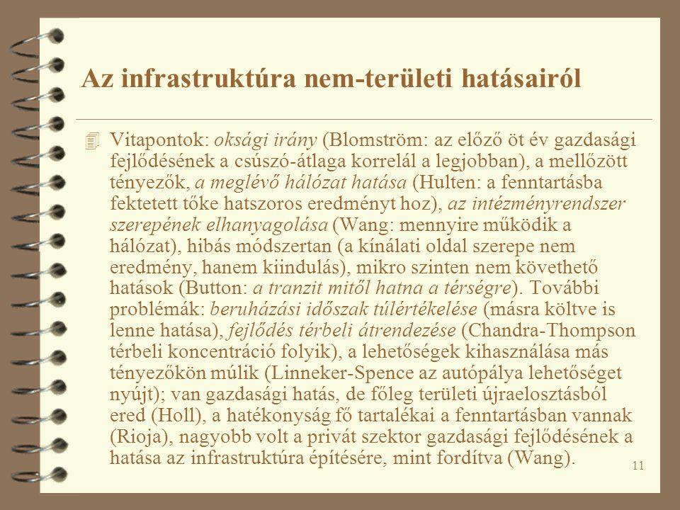 11 Az infrastruktúra nem-területi hatásairól 4 Vitapontok: oksági irány (Blomström: az előző öt év gazdasági fejlődésének a csúszó-átlaga korrelál a l