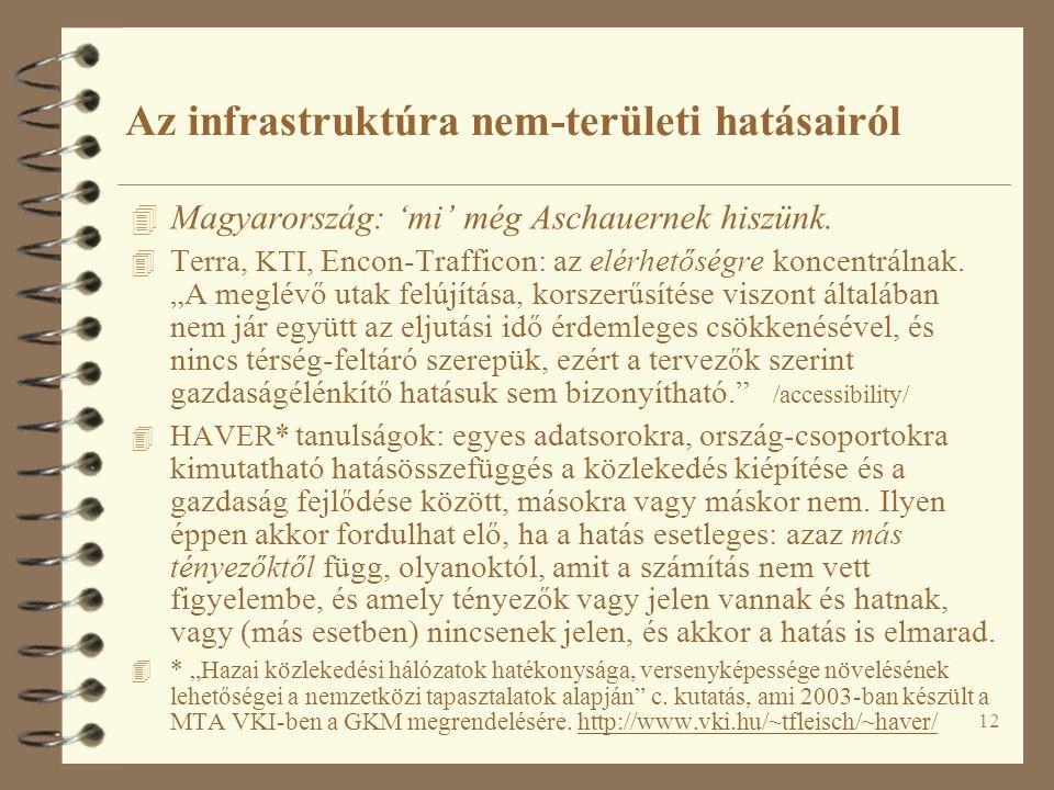 12 Az infrastruktúra nem-területi hatásairól 4 Magyarország: 'mi' még Aschauernek hiszünk. 4 Terra, KTI, Encon-Trafficon: az elérhetőségre koncentráln