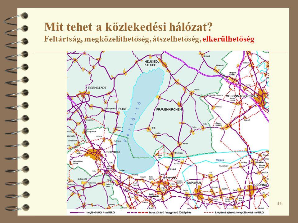 46 Mit tehet a közlekedési hálózat? Feltártság, megközelíthetőség, átszelhetőség, elkerülhetőség
