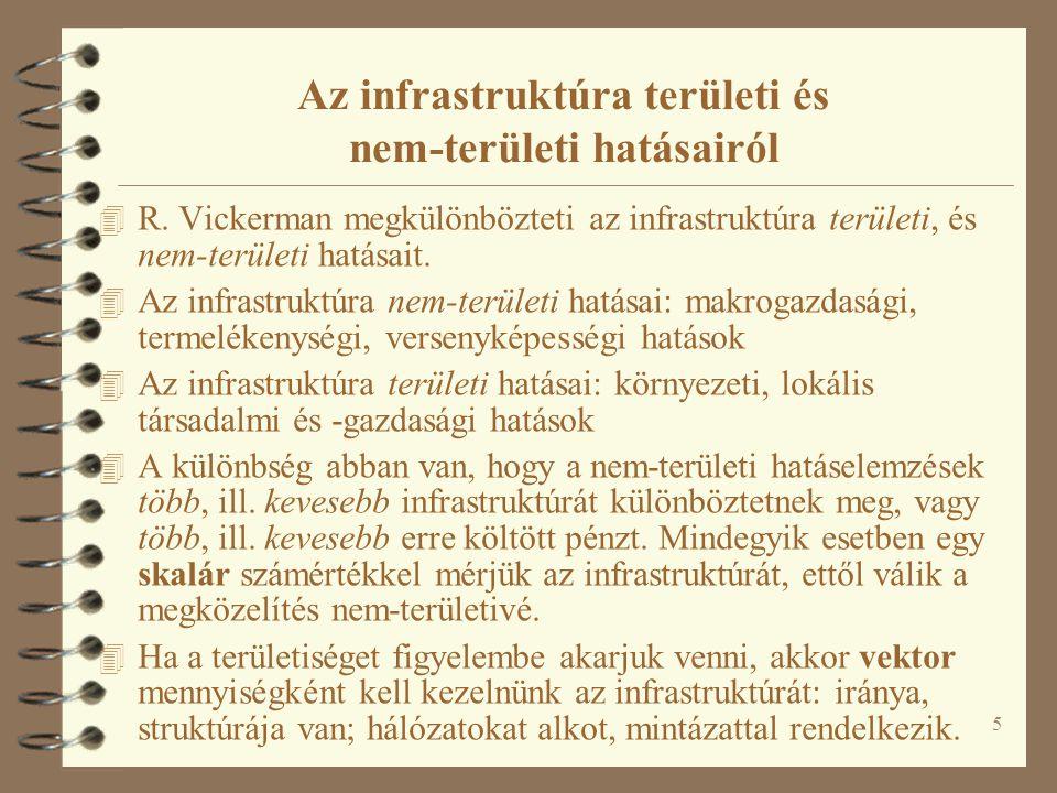 5 Az infrastruktúra területi és nem-területi hatásairól 4 R. Vickerman megkülönbözteti az infrastruktúra területi, és nem-területi hatásait. 4 Az infr