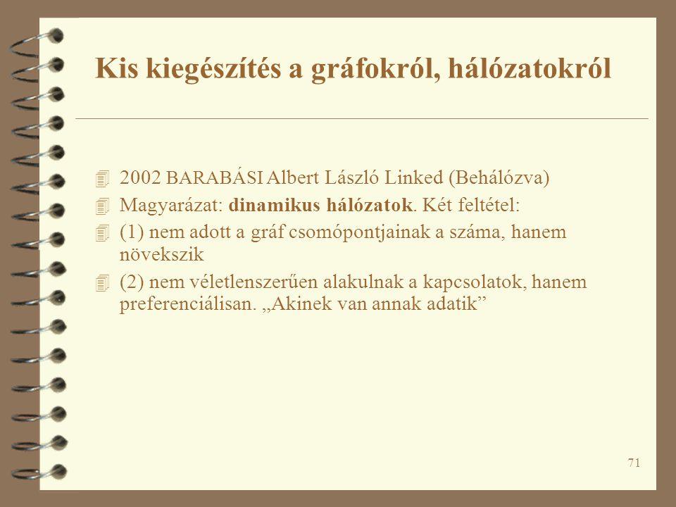 71 4 2002 BARABÁSI Albert László Linked (Behálózva) 4 Magyarázat: dinamikus hálózatok. Két feltétel: 4 (1) nem adott a gráf csomópontjainak a száma, h