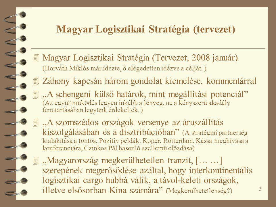 3 Magyar Logisztikai Stratégia (tervezet) 4 Magyar Logisztikai Stratégia (Tervezet, 2008 január) (Horváth Miklós már idézte, ő elégedetten idézve a célját.