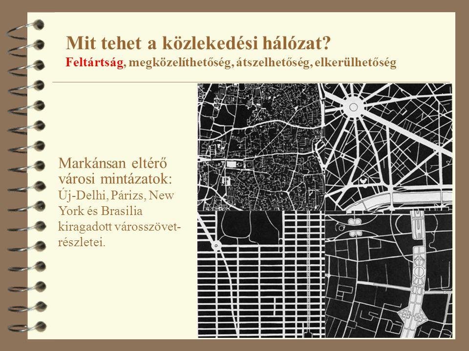 20 Mit tehet a közlekedési hálózat? Feltártság, megközelíthetőség, átszelhetőség, elkerülhetőség Markánsan eltérő városi mintázatok: Új-Delhi, Párizs,
