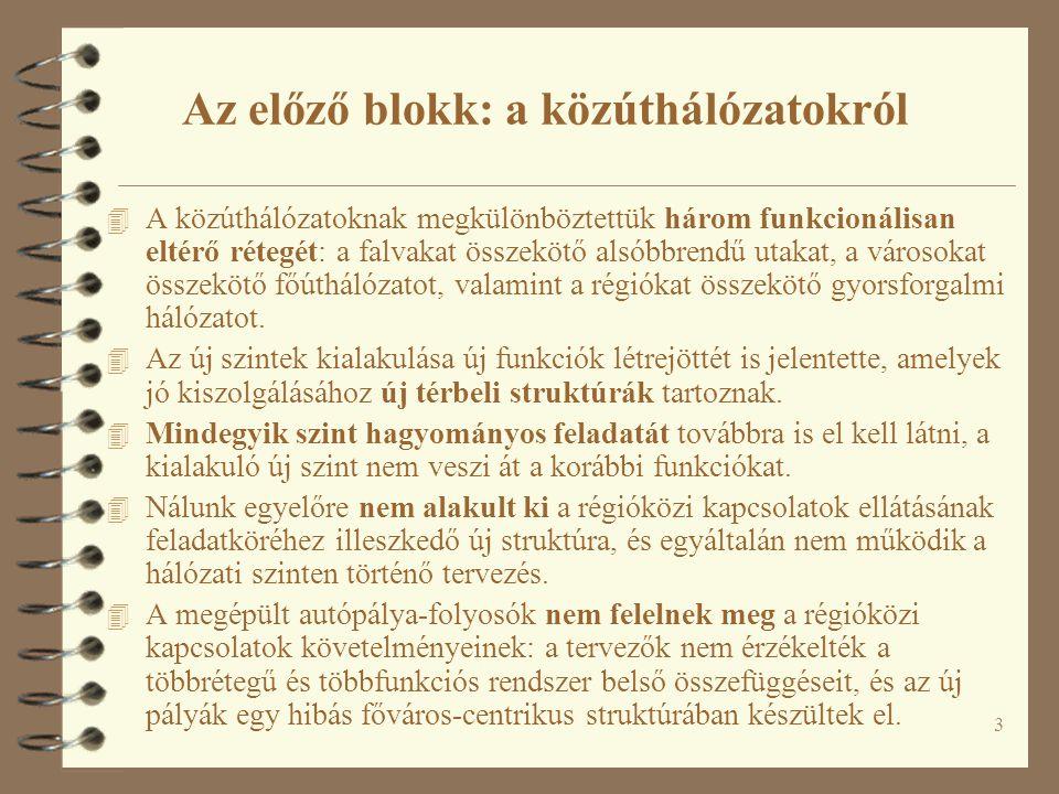 44 Egy lehetséges magyarországi régióközi folyosó-hálózati struktúra Forrás: Fleischer Tamás – Magyar Emőke – Tombácz Endre – Zsikla György (2001): A Széchenyi Terv autópálya-fejlesztési programjának stratégiai környezeti hatásvizsgálata.