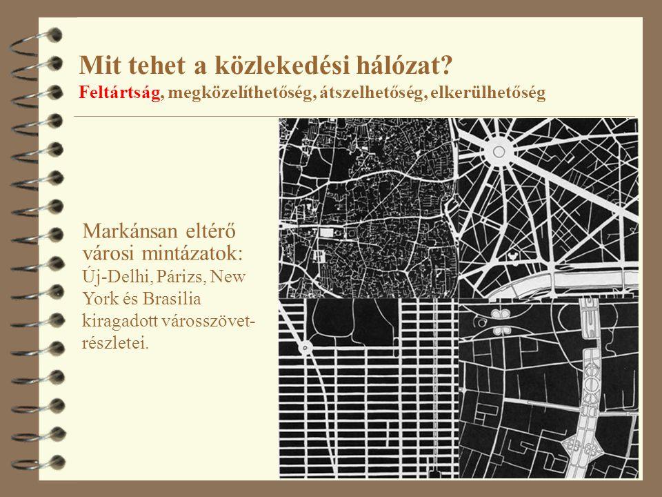 13 Mit tehet a közlekedési hálózat? Feltártság, megközelíthetőség, átszelhetőség, elkerülhetőség Markánsan eltérő városi mintázatok: Új-Delhi, Párizs,