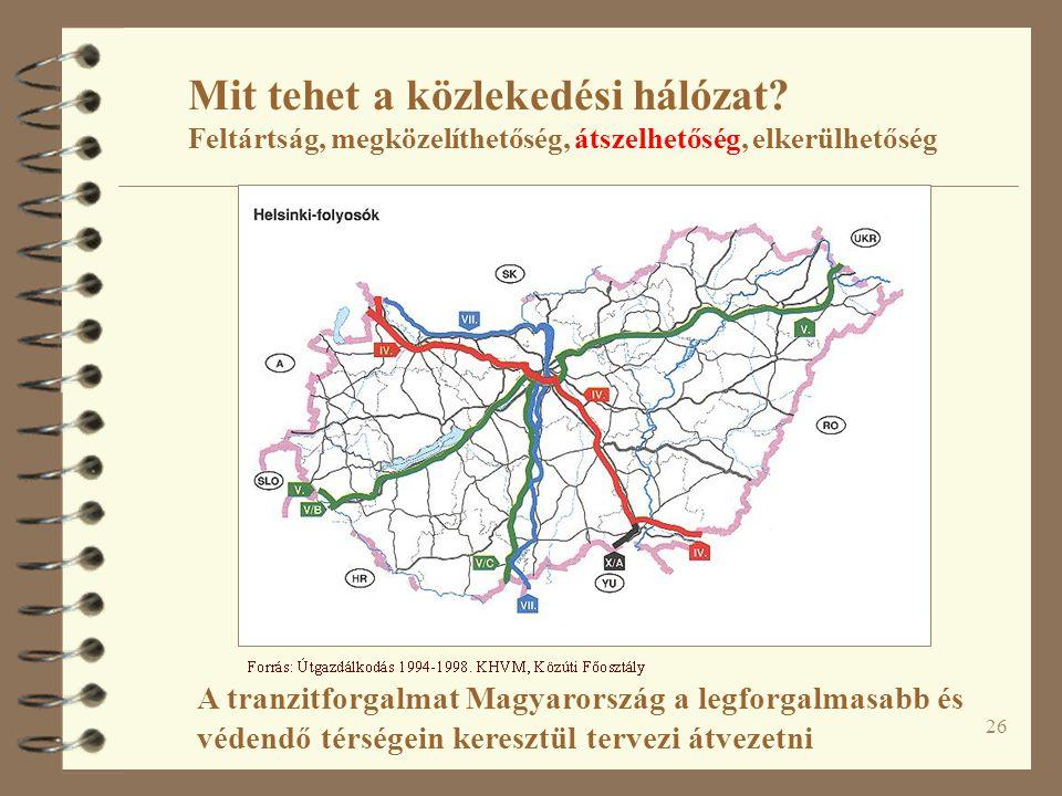 26 Mit tehet a közlekedési hálózat? Feltártság, megközelíthetőség, átszelhetőség, elkerülhetőség A tranzitforgalmat Magyarország a legforgalmasabb és