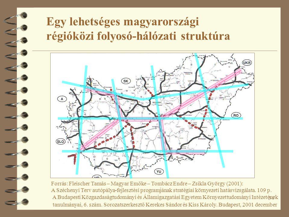 34 Egy lehetséges magyarországi régióközi folyosó-hálózati struktúra Forrás: Fleischer Tamás – Magyar Emőke – Tombácz Endre – Zsikla György (2001): A Széchenyi Terv autópálya-fejlesztési programjának stratégiai környezeti hatásvizsgálata.