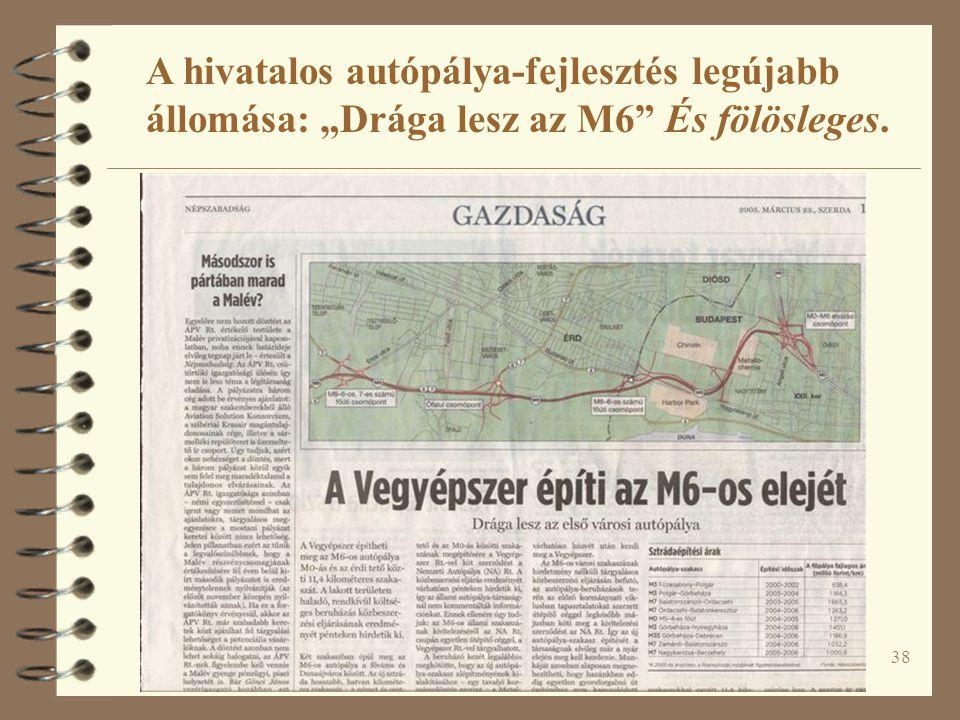 """38 A hivatalos autópálya-fejlesztés legújabb állomása: """"Drága lesz az M6"""" És fölösleges."""