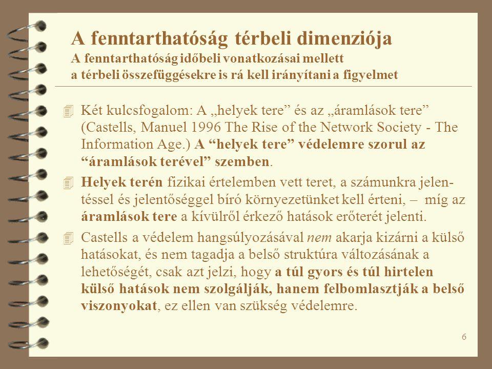 """6 A fenntarthatóság térbeli dimenziója A fenntarthatóság időbeli vonatkozásai mellett a térbeli összefüggésekre is rá kell irányítani a figyelmet 4 Két kulcsfogalom: A """"helyek tere és az """"áramlások tere (Castells, Manuel 1996 The Rise of the Network Society - The Information Age.) A helyek tere védelemre szorul az áramlások terével szemben."""