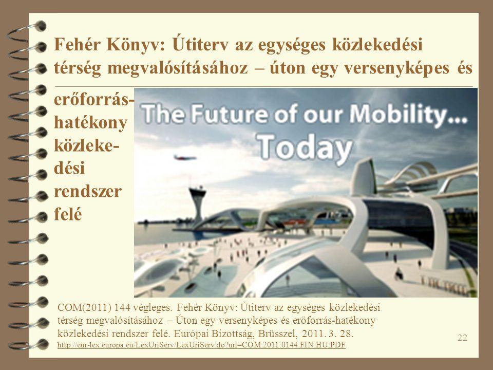 22 Fehér Könyv: Útiterv az egységes közlekedési térség megvalósításához – úton egy versenyképes és COM(2011) 144 végleges.