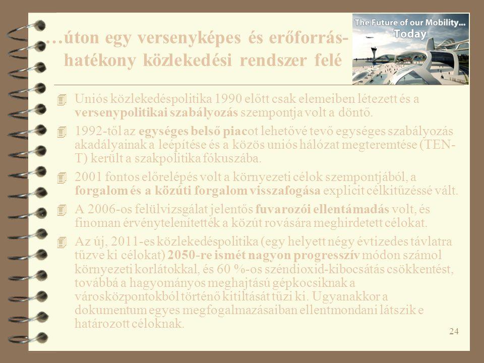 24 4 Uniós közlekedéspolitika 1990 előtt csak elemeiben létezett és a versenypolitikai szabályozás szempontja volt a döntő. 4 1992-től az egységes bel