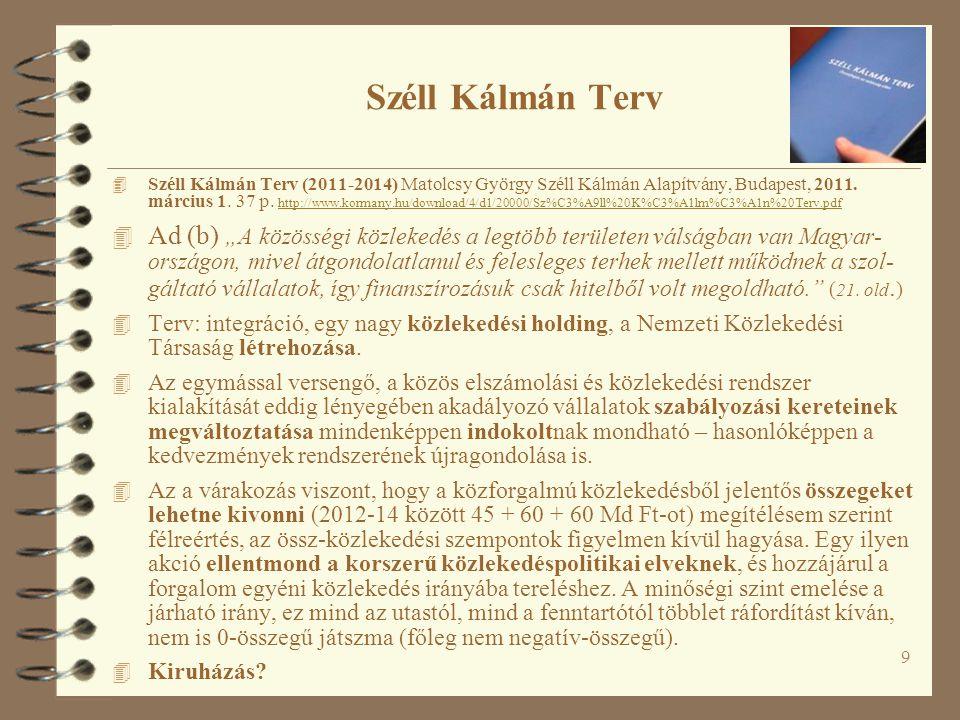9 Széll Kálmán Terv 4 Széll Kálmán Terv (2011-2014) Matolcsy György Széll Kálmán Alapítvány, Budapest, 2011.