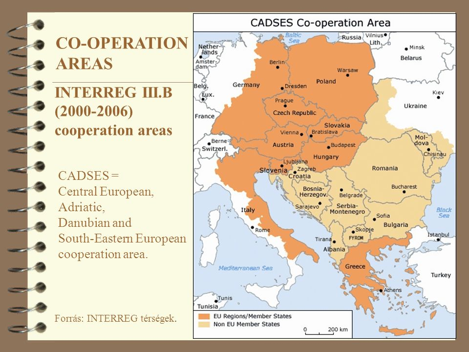 Forrás: INTERREG térségek. INTERREG III.B (2000-2006) cooperation areas CADSES = Central European, Adriatic, Danubian and South-Eastern European coope