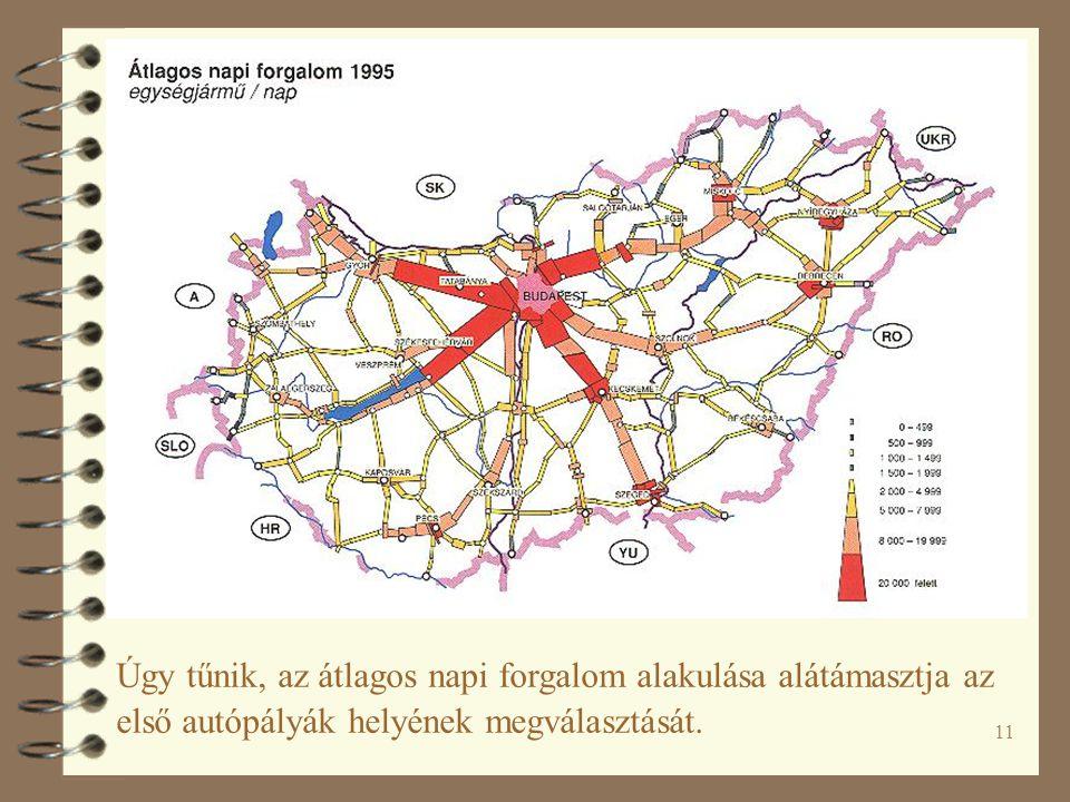 11 Úgy tűnik, az átlagos napi forgalom alakulása alátámasztja az első autópályák helyének megválasztását.