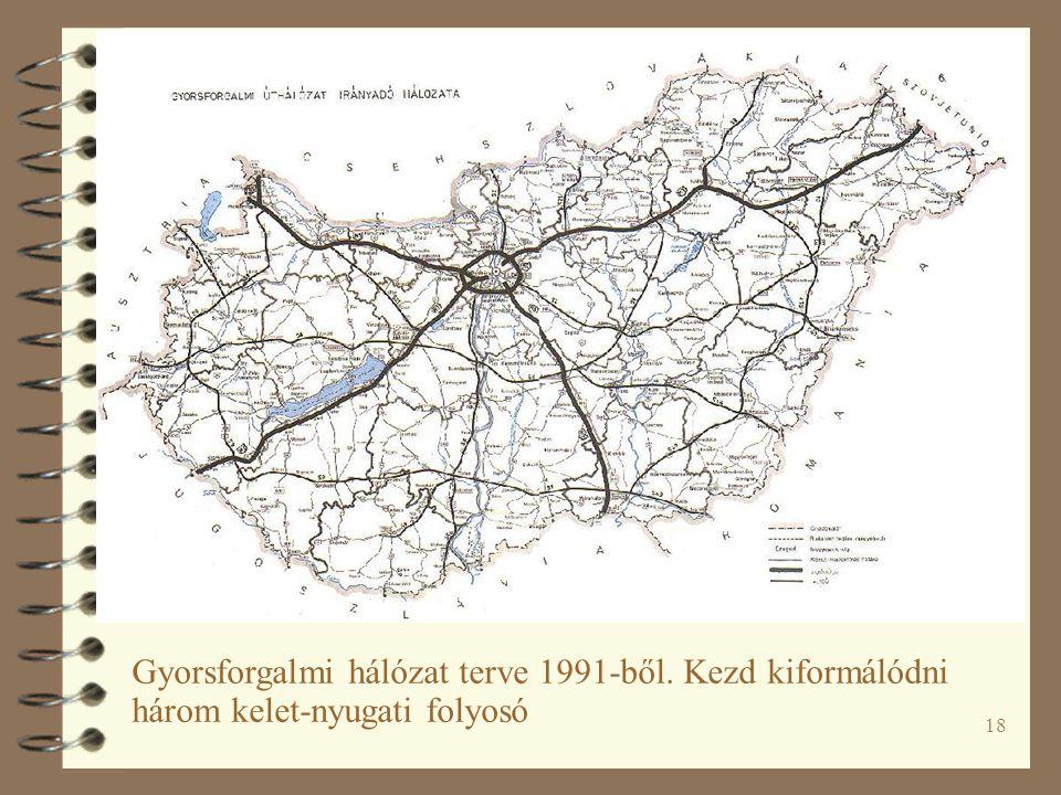 18 Gyorsforgalmi hálózat terve 1991-ből. Kezd kiformálódni három kelet-nyugati folyosó