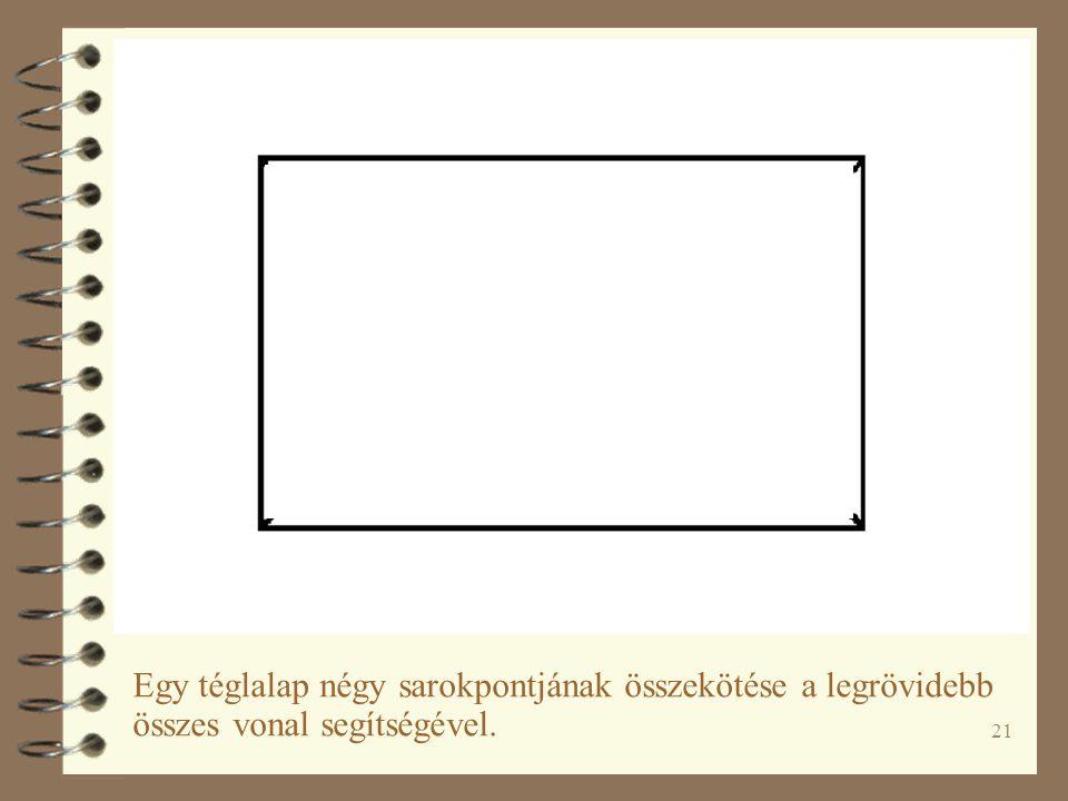 21 Egy téglalap négy sarokpontjának összekötése a legrövidebb összes vonal segítségével.