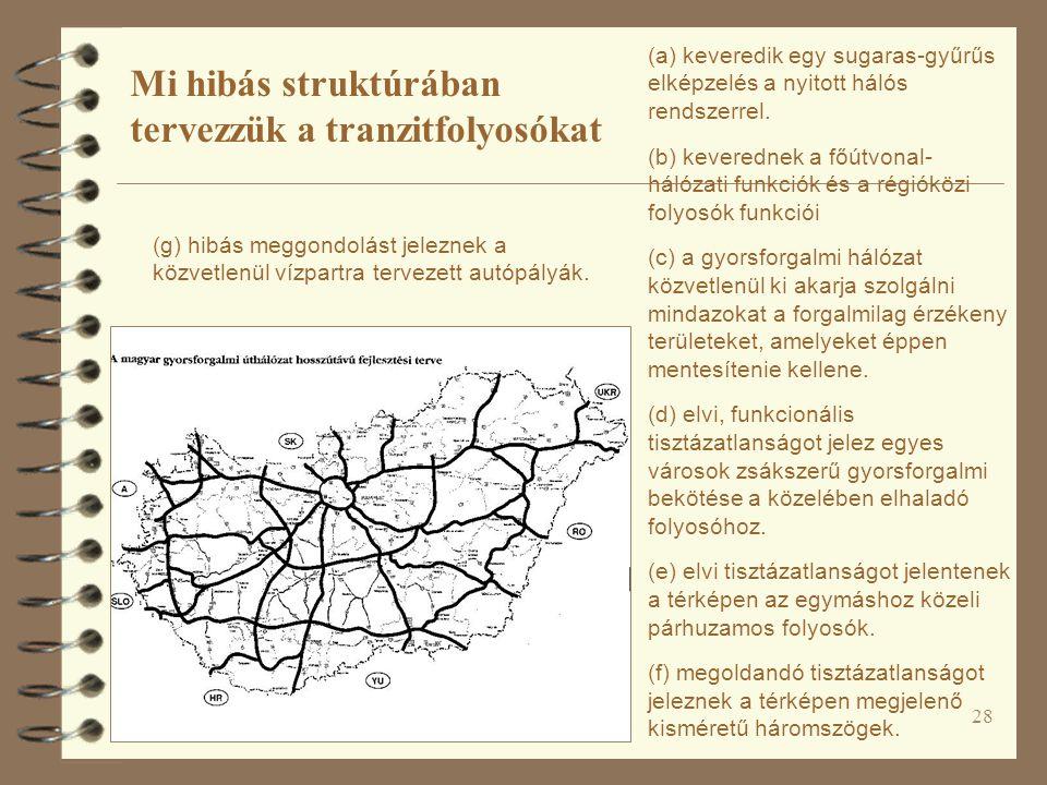 28 (a) keveredik egy sugaras-gyűrűs elképzelés a nyitott hálós rendszerrel. (b) keverednek a főútvonal- hálózati funkciók és a régióközi folyosók funk