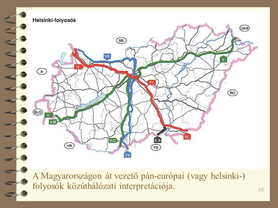 30 A Magyarországon át vezető pán-európai (vagy helsinki-) folyosók közúthálózati interpretációja.