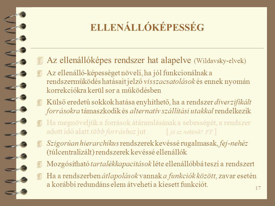 17 ELLENÁLLÓKÉPESSÉG 4 Az ellenállóképes rendszer hat alapelve (Wildavsky-elvek) 4 Az ellenálló-képességet növeli, ha jól funkcionálnak a rendszerműkö
