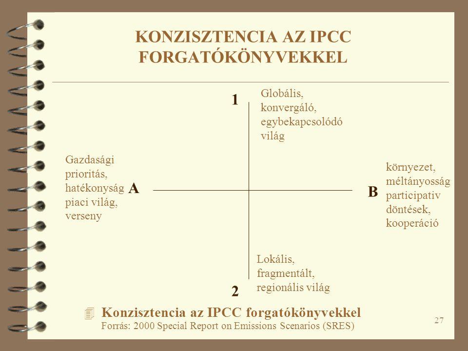 27 4 Konzisztencia az IPCC forgatókönyvekkel Forrás: 2000 Special Report on Emissions Scenarios (SRES) A B 1 2 Gazdasági prioritás, hatékonyság piaci világ, verseny környezet, méltányosság participativ döntések, kooperáció Lokális, fragmentált, regionális világ Globális, konvergáló, egybekapcsolódó világ KONZISZTENCIA AZ IPCC FORGATÓKÖNYVEKKEL