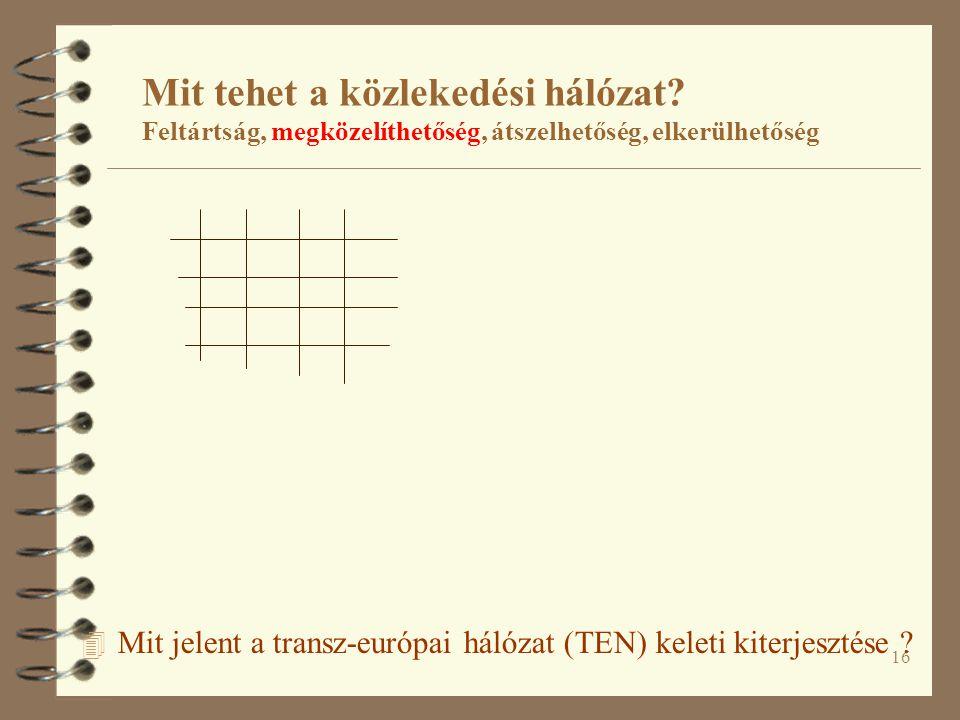 16 4 Mit jelent a transz-európai hálózat (TEN) keleti kiterjesztése .