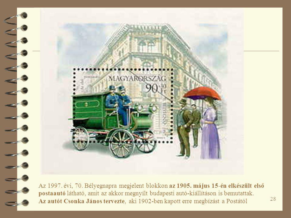 28 Az 1997. évi, 70. Bélyegnapra megjelent blokkon az 1905.