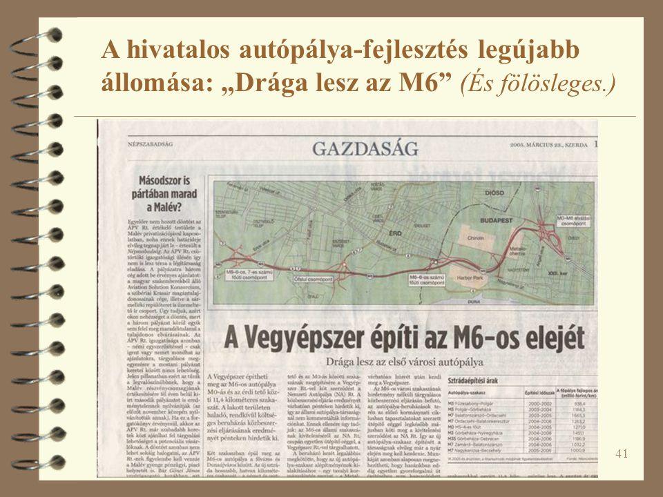 """41 A hivatalos autópálya-fejlesztés legújabb állomása: """"Drága lesz az M6 ( És fölösleges.)"""