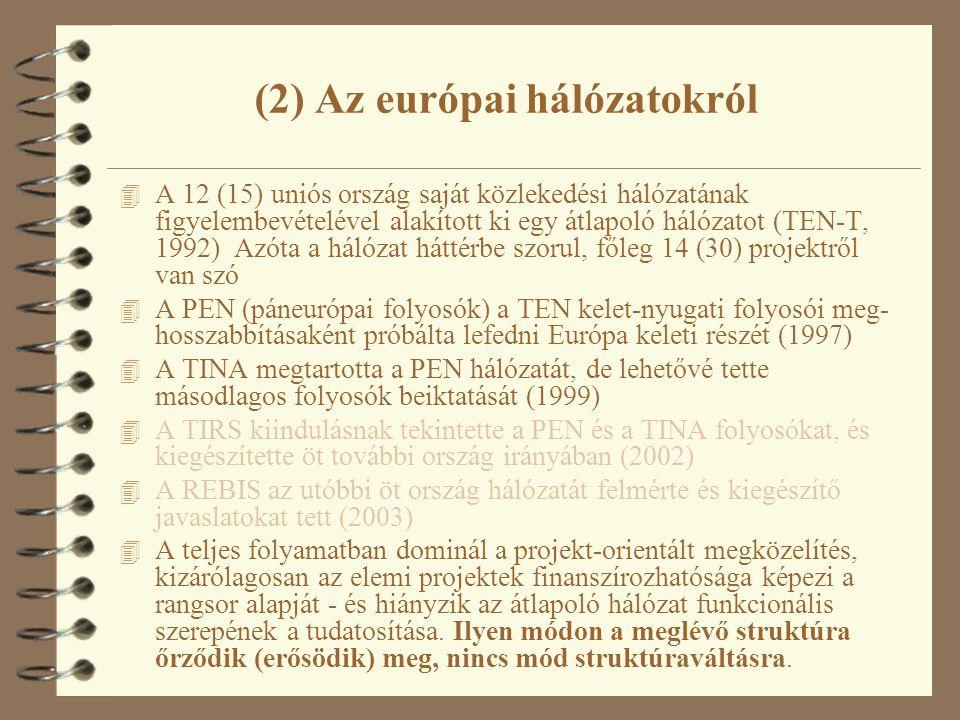 (2) Az európai hálózatokról 4 A 12 (15) uniós ország saját közlekedési hálózatának figyelembevételével alakított ki egy átlapoló hálózatot (TEN-T, 1992) Azóta a hálózat háttérbe szorul, főleg 14 (30) projektről van szó 4 A PEN (páneurópai folyosók) a TEN kelet-nyugati folyosói meg- hosszabbításaként próbálta lefedni Európa keleti részét (1997) 4 A TINA megtartotta a PEN hálózatát, de lehetővé tette másodlagos folyosók beiktatását (1999) 4 A TIRS kiindulásnak tekintette a PEN és a TINA folyosókat, és kiegészítette öt további ország irányában (2002) 4 A REBIS az utóbbi öt ország hálózatát felmérte és kiegészítő javaslatokat tett (2003) 4 A teljes folyamatban dominál a projekt-orientált megközelítés, kizárólagosan az elemi projektek finanszírozhatósága képezi a rangsor alapját - és hiányzik az átlapoló hálózat funkcionális szerepének a tudatosítása.